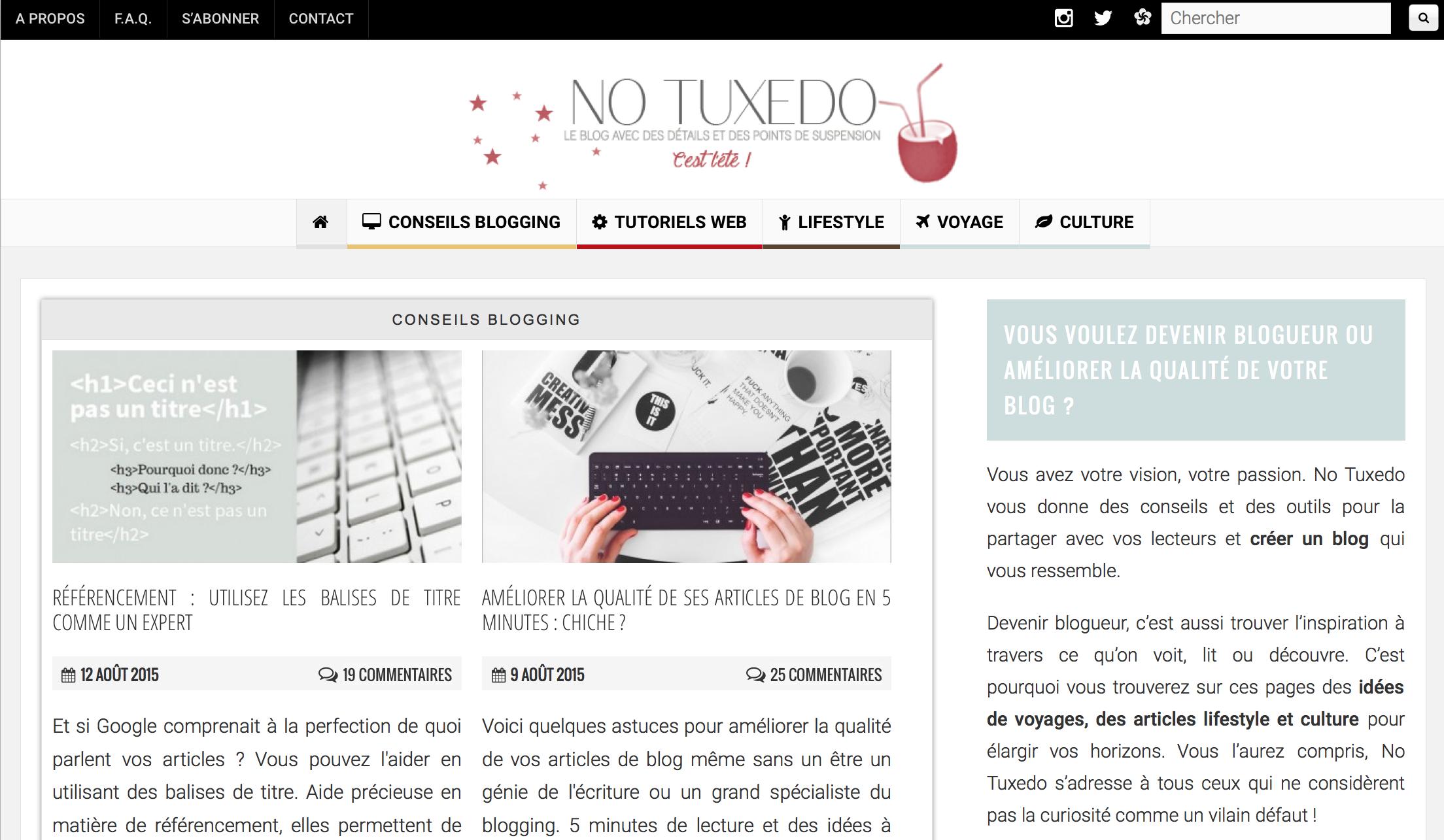 No tuxedo le blog pour toujours améliorer sa SEO