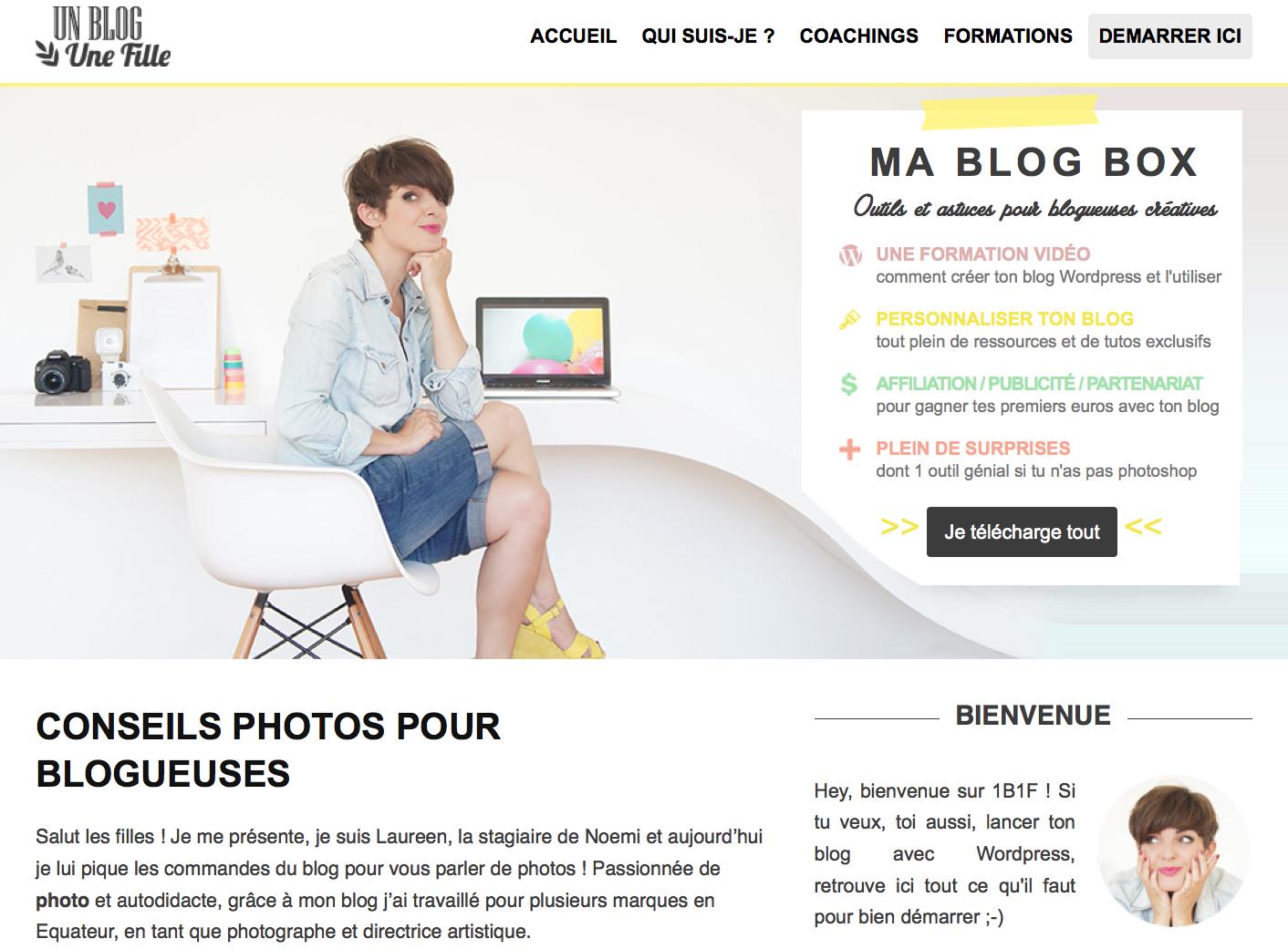 Un blog Une fille le blog à connaitre pour démarrer son blog ou site